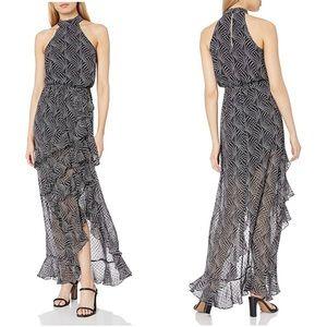 Bebe star print halter ruffle maxi dress